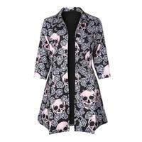 Gothic skull jacket Women Winter Autumn rose pink elegant Jacket Mid long Outerwear button plus size Gothic Jacket 2018 Coat HOT