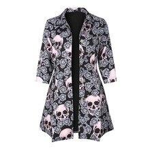 Gothic skull jacket Women Winter Autumn rose pink elegant Jacket Mid-long Outerwear button plus size Gothic Jacket 2018 Coat HOT