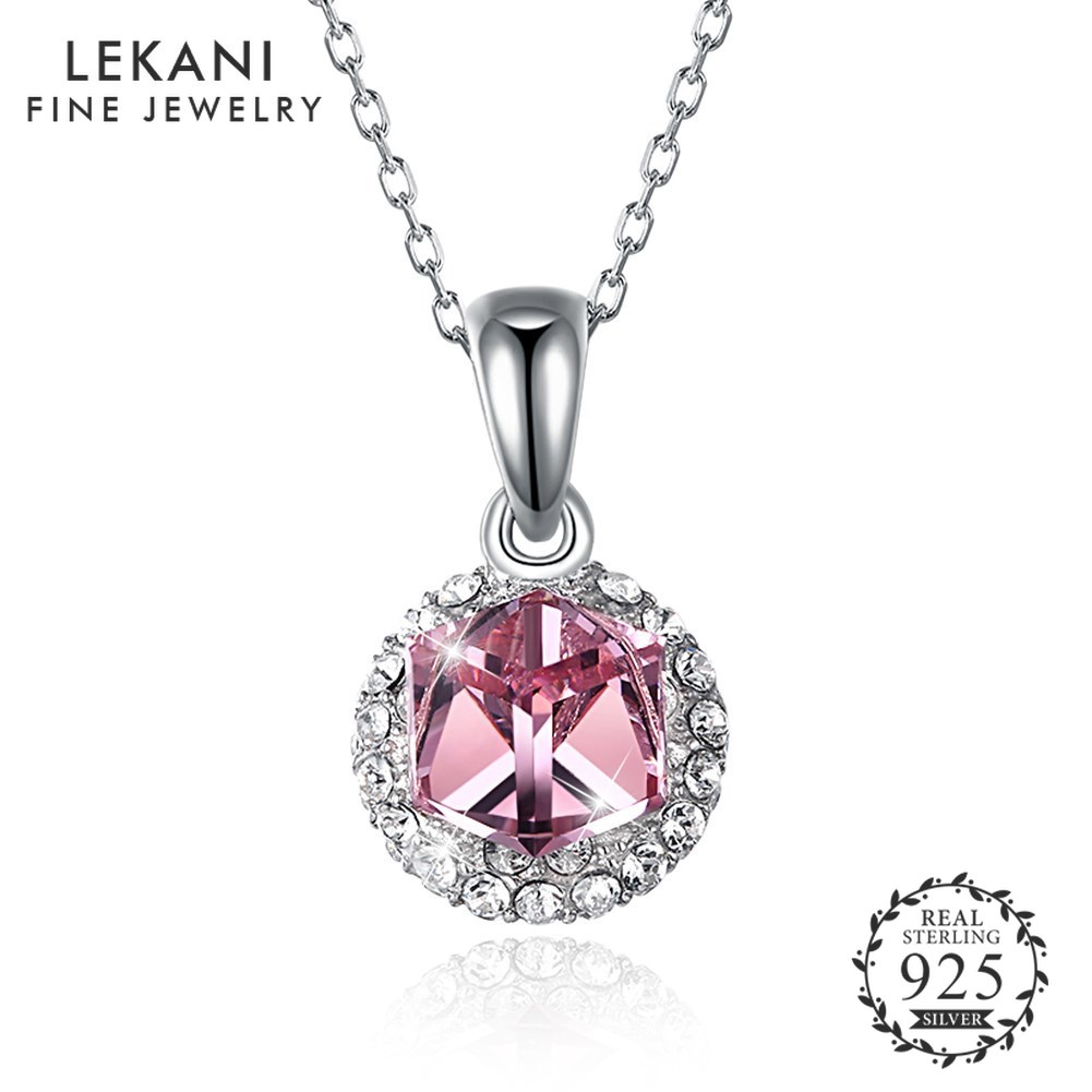 LEKANI Real Sterling Silver 925 Necklace Crystals from Swarovski Square Crystal Necklace With Pendant New Design For Women Party