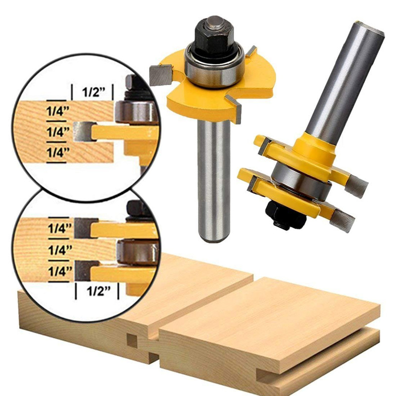 2Pcs Tongue And Groove Tungsten Carbide Router Bits Teeth T-Wood Milling Cutter