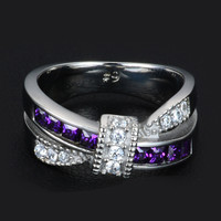 3 Colors 2017 New Fashion Female Jewelry Cross 316L Stainless Steel Ring Zircon Crystal Wedding Band