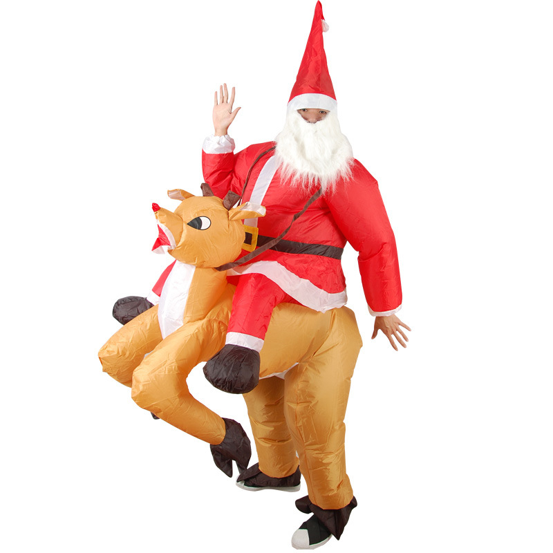 2018 Santa Claus riding deer Costumes Adult Outfits Inflatable Chirstmas Gift Cloth Snowman Riding Deer Santa Claus