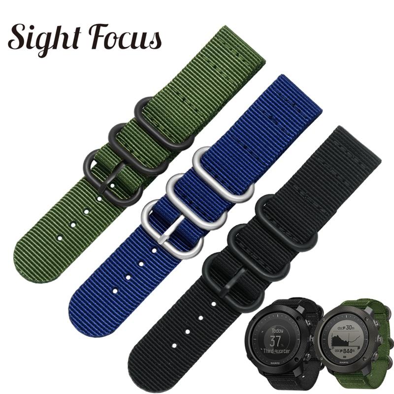 Correa de reloj de nailon para Suunto Traverse Alpha, banda de reloj negra del ejército, verde, 18MM, 20MM, 22MM, 24MM, Zulu Nato