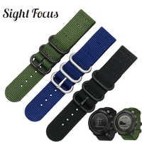 SIGHT FOCUS Nylon Watch Strap For Suunto Traverse Alpha Watch Band Black Army Green 18MM 20MM 22MM 24MM Zulu Nato Stripe Strap