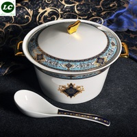 Фарфоровая бульонная чашка 9 дюймов домашняя двухушная супница горшок корт миска из костного фарфора большая суповая миска досточтимый Топ