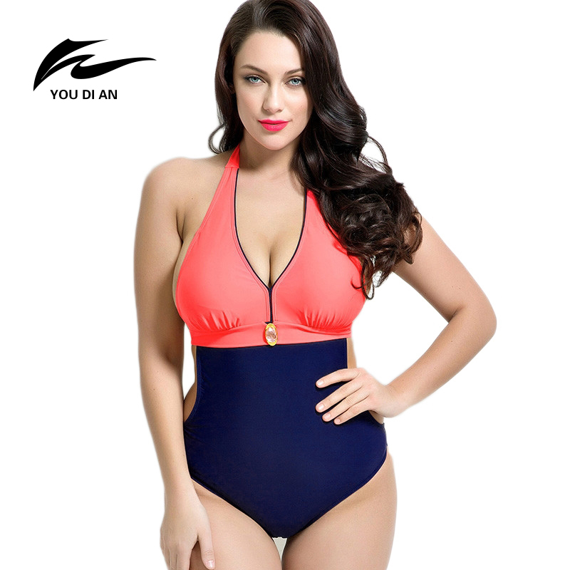 YOUDIAN 2017 Summer Style Womens Plus Size One Piece Swimsuit Swimwear Padded Monokini Women Bathing Suits Large Bust Swimsuits