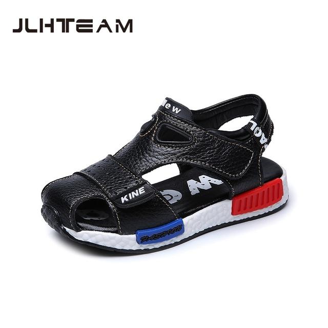2017 nueva piel de vaca Verano sandalias masculinas niño niño sandalias zapatos de playa zapatos de niños sandalias de moda de cuero genuino zapatos casuales NMD
