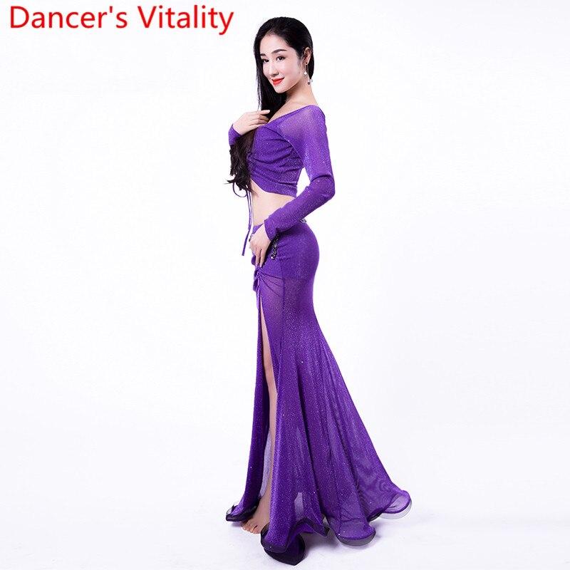 Women Oriental Indian Belly Dance Practice Clothes Drawstring Cut out Top Split Long Skirt 2pc Set