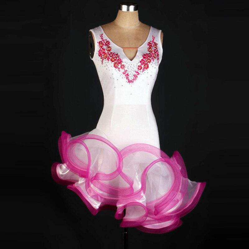 2018 sleeveless tassel latin dance dress women white salsa sexy latin girl kids latin dresses for