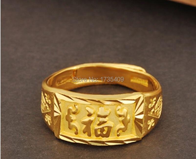 Authentique 999 bague en or jaune 24 k/bague FU pour hommes/7.2g/taille américaine 4-10 - 4