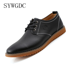 SYWGDC Casual Leather Men Shoes Fashion Spring Autumn Comfortable Men Leisure Shoes Big Size Breathable Flats Business Shoes surgut spring autumn comfortable genuine leather men casual shoes fashion men breathable vintage classic flats shoes size 38 45 page 4 page 5 page 4