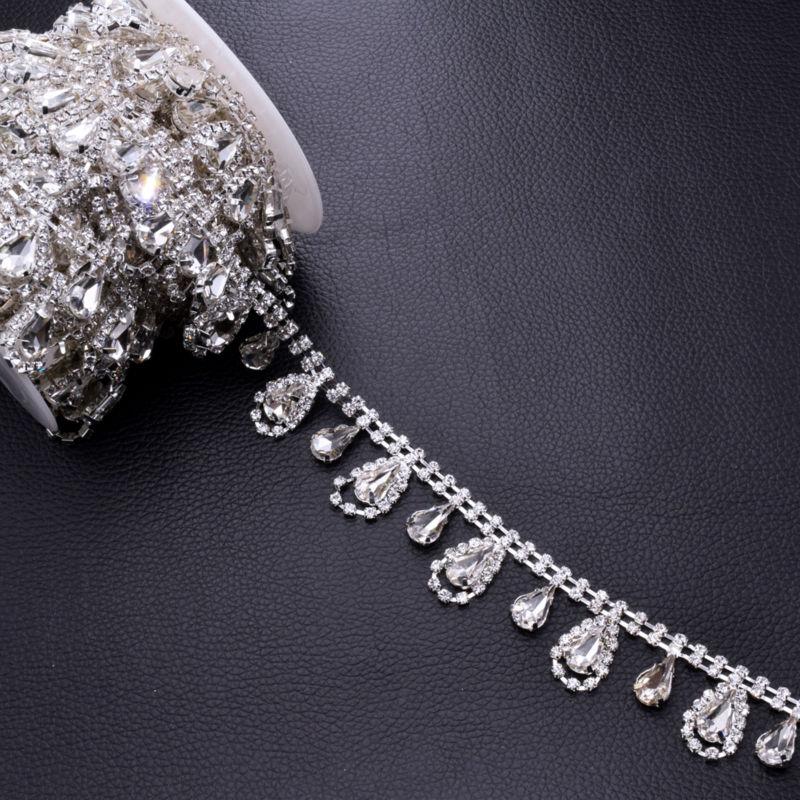 Aliexpress.com   Buy DIY 5Yards Tassel Waterdrop Strass Rhinestones Trim  Sewing Craft Bridal Dress belt Decoration Silver plated Rhinestone  appliques from ... d2a3bce53c28