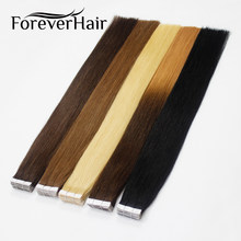 "FOREVER HAIR 2.0g/pc 18"" Remy Tape In Human Hair Extension Natural Human Hair Invisible Skin Weft Seamless Straight 20pcs/pac(China)"