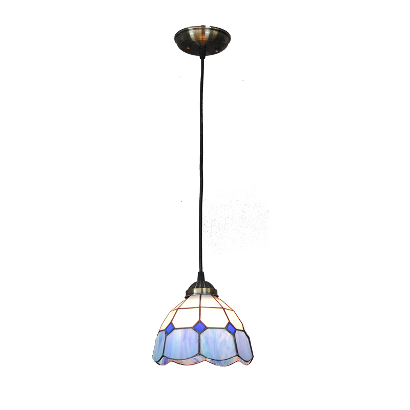 Mediterranean Style Blue&White Glass Pendant Lamp E26/E27 Bulb European Tiffany Home Decoration Bedroom Living Room Fixture P770 a1 master bedroom living room lamp crystal pendant lights dining room lamp european style dual use fashion pendant lamps