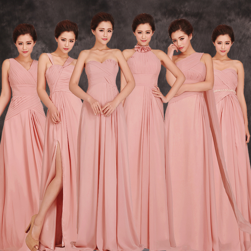 2017 cheap long and short chiffon blush pink bridesmaid for Dresses for wedding bridesmaid