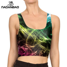 NADANBAO Brand 2019 Summer Style Women Crop tops Ray fluorescence Tank tops Mujer Fitness O-Neck Printed tops For Woman