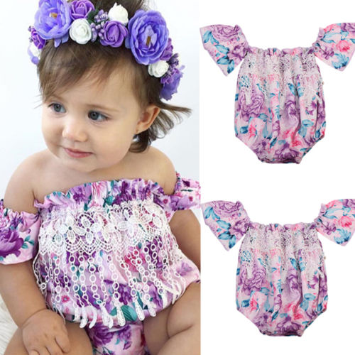 10bf3c34563 Pudcoco NEW Adorable Girls Clothes Kid Toddler Infant Off shoulder Romper  Floral Cute Purple Newborn baby Girls Jumpsuit Sunsuit-in Rompers from  Mother ...