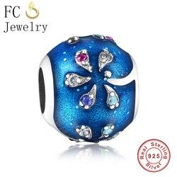 Fit Orijinal Pandora Charm Bilezik Özü Gerçek 925 Gümüş Palmiye Ağacı Renk CZ Taş Gök Mavisi Boncuk DIY Yapımı için berloque Mücevher
