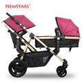 Ne para wst ars luz suspensão de carro do bebê gêmeo carrinho duplo carrinho de mão