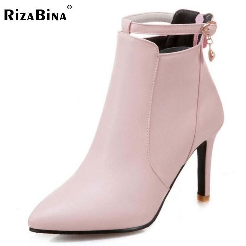 RizaBina Plus Size 31-47 Ladies Thin High Heels Ankle Boots Women Sexy Pointed Toe Side Zip Shoes Women Winter Warm Botas 2016 flapper ladies autumn winter women red black tassel pointed toe high heels boots spike fringe ankle shoes plus size 40 usa