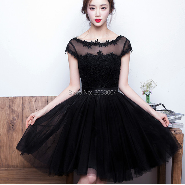 Aliexpress.com : Buy Sexy Short Elegant Simple Black Lace Cocktail ...