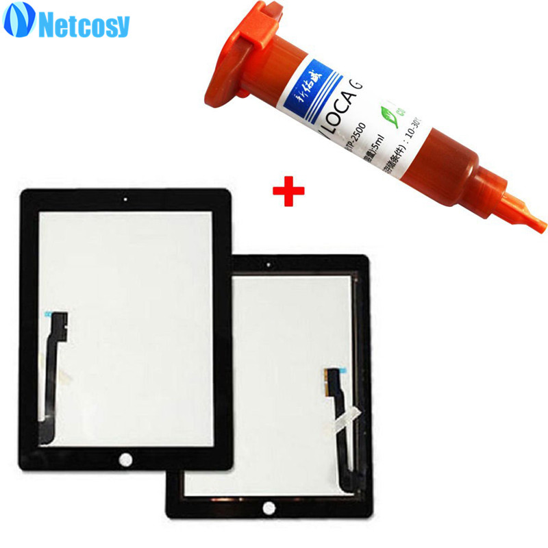 For ipad 3 / 4 Black & White Touch Screen Glass Digitizer Replacement for iPad 3 & 4 Tablet touch panel+5mL UV Glue