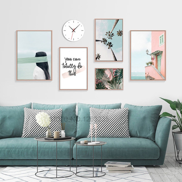 Quadro Pink Sea View Room Nordic Poster Green Leaf Coconut Tree Wall Art  Canvas Painting Wall