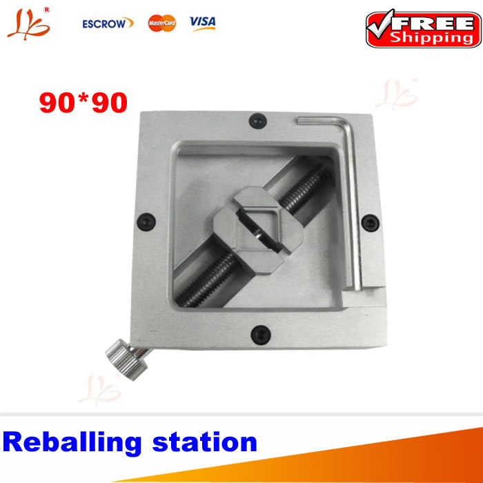 HT-90 reballing station, 90mm stencils holder BGA jig for bga rework bga reballing kit bga reball station with handle 90mm x 90mm stencils template holder jig
