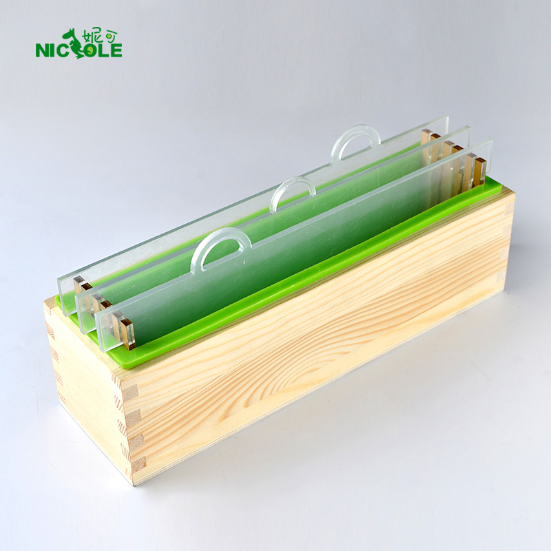 Nicole Silicone Render Såpe Mold Set Rektangel Loaf Mould With Wood Box og Transparent Vertikal Acrylic Clapboard DIY Håndlaget