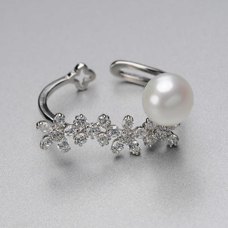 Feige splendid 8-9mm branco natural pérola anel 925 prata esterlina anel para as mulheres fina pérola jóias casamento pérola aniversário
