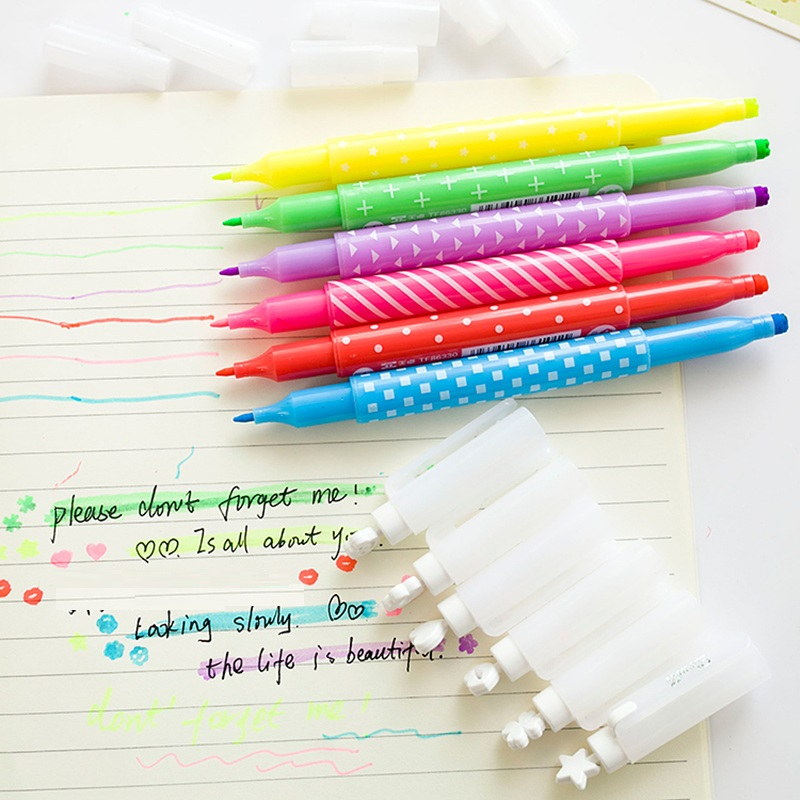6 pcs Lot Double side color highlighter pen Stamp marker star love kiss Scrapbooking Stationery Office School supplies DB689 in Highlighters from Office School Supplies