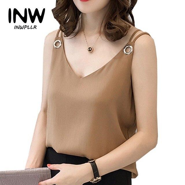 61266d58826 Summer Chiffon Blouse Shirt Women Plus Size Tops Mujer Strap Blusas  Femininas Shirts V-neck