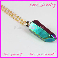 1PC Beautiful Colorful Stone Crystal Drusy Gem Pendant 22K Gold Plated Snake Chain Statement Necklace Jewelry