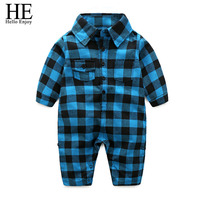 HE Hello Enjoy New Spring Autumn Infant Baby Rompers Long Sleeve Gentleman style plaid jumpsuit Outfits Toddler Boys Clothinng