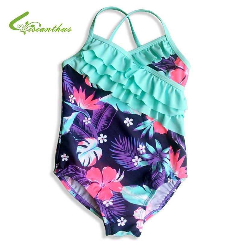 夏キッズ女の赤ちゃんビキニワンピース水着水着ビーチウェアフラミンゴボディスーツ子供のためのフリル水着