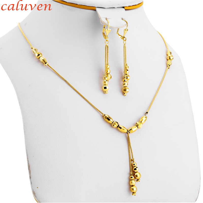 Small Beads Necklace Earrings for Women/Girls,Fashion Charms Ball Jewelry Gold Color,Ethioipian Jewelry African Indian Jewerly
