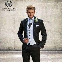 LN099 Eleganckich Mężczyzn Garnitury Klienta Czarny Groom Smokingi 2017 Garniturów Męskich Ślubne Biznes Mężczyźni Pracują Formalne Balu Wear (kurtka + Spodnie + Kamizelka)
