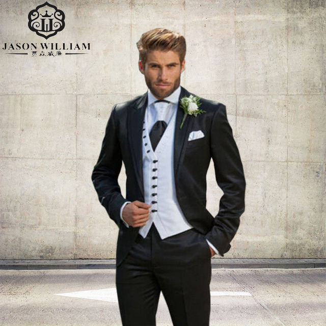 LN099 Elegant Men Suits Custom Black Groom Tuxedos 2017 Wedding ...