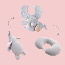Cute Elephant Pig Bear Deformable U-shaped Plush Pillow Travel Cartoon Animal Car Headrest Doll Multi-functional Storage