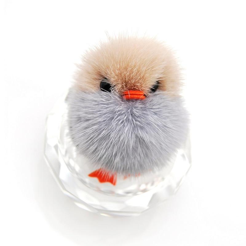 Marque nouveau mignon duveteux canard porte-clés femmes véritable - Bijoux fantaisie - Photo 5