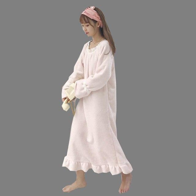 28854f888e New Autumn Winter Ruffle Sleeve Women Nightgown Flannel Nightgowns Girls  Night Dress Sleepwear Cute Princess Coral Fleece WZ089