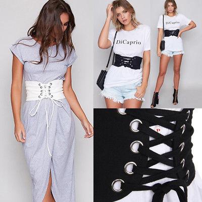 Women Ladies Lace-up Stretch Elastic Wide Corset Belt Waist Cincher Waistband
