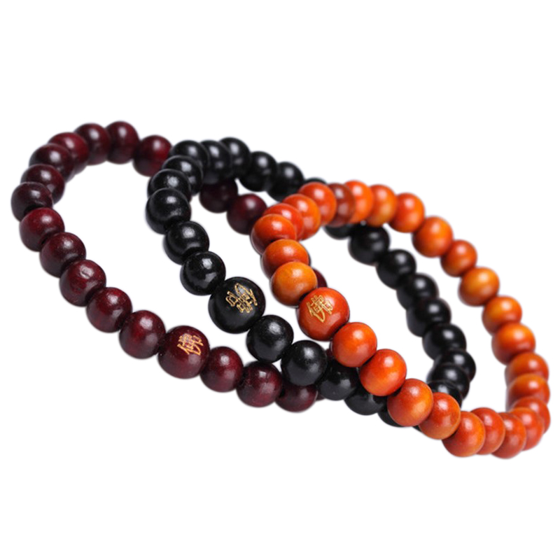 Charming Luxury Buddhist Buddha Meditation 8mm 26 Prayer Sandalwood Beads Rope Bracelet Color Black Red