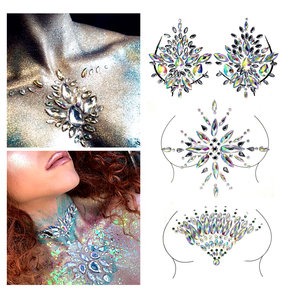 Women Sexy Party Crystal Chest Jewels Temporary Tattoo Sticker Body Jewels Stage RhinestoneTattoos Adhesive Jewel Gem Jewelry