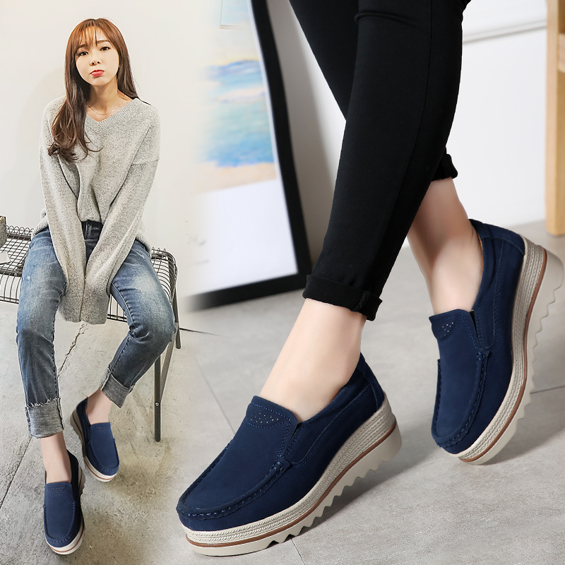 2019 Winter Women Flats Shoes Platform Sneakers Shoes   Leather     Suede   Casual Shoes Slip On Flats Heels Autumn Creepers Moccasins