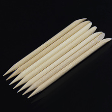 100 xSpade Shape Sharp Tip Two-End Orange Wood Stick Nail Art Cuticle Pusher Remover  for Pedicure Manicures Nails Care Tool цены онлайн
