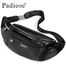 Padieoe Luxury Genuine Leather Men's Belt Bag High Quality Durable Waist Pack Fashion Casual Waist Bag Durable male Chest Bag