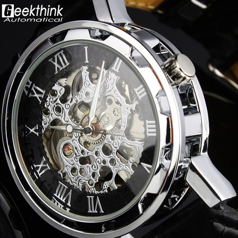 SHENHUA New Mechanical Skeleton Black Leather Wrist Silver Automatical Men's Watch steampunk Wristwatch Relogio New Classic