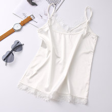 9a7db85531a7e4 Summer Silk Tank Top 2018 Women Sexy V Neck Sleeveless Basic Tops Blusas  Casual Womens Vest Lace Camisole Crop Tops For Lady