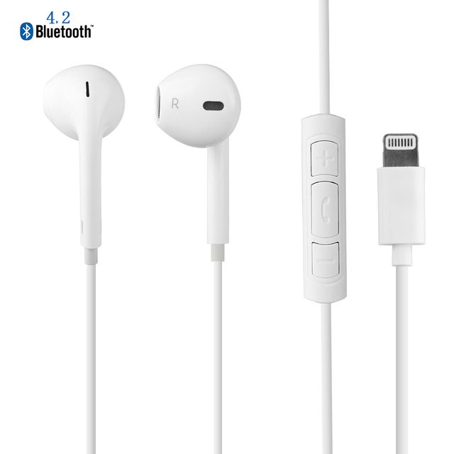 Hands Free Stereo Bluetooth Earphone Headset Earpods With Microphone Lightning Connector For IPhone 7